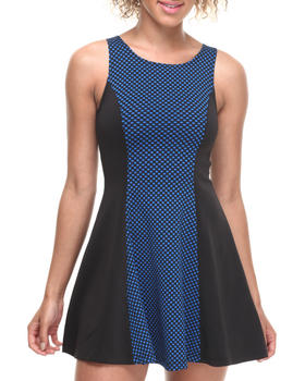 ALI & KRIS - Textured Plaid Scuba Skater Dress