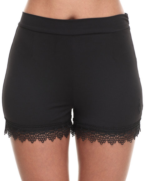 Baby Phat - Women Black Lace Trim High Waisted Short