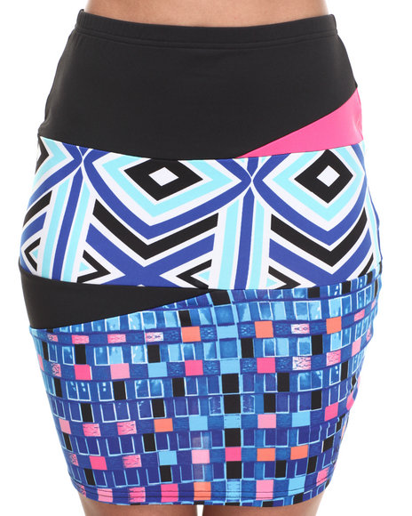 Baby Phat - Women Multi Mixed Print Pencil Skirt