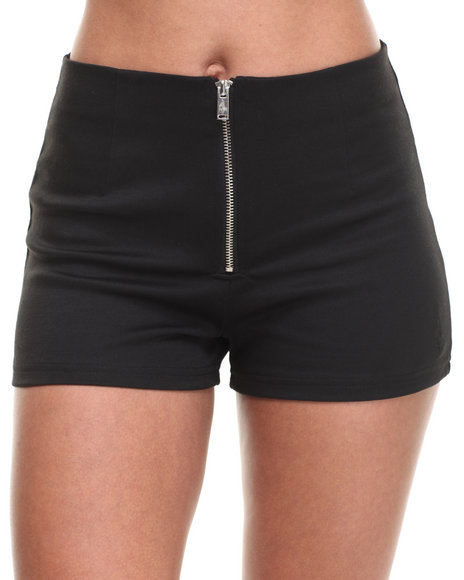 Baby Phat - Women Black High Waist Zip Front Short