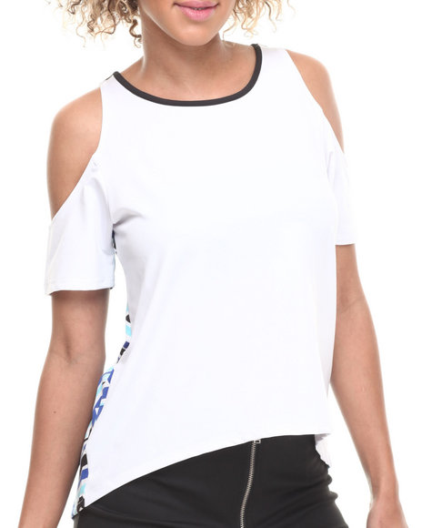 Baby Phat - Women White Cold Shoulder High-Low Top