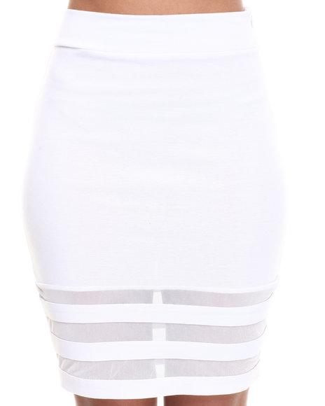 Baby Phat - Women White Mesh Inserts Skirt