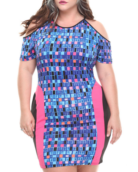 Baby Phat - Women Multi Cold Shoulder Pieced Dress (Plus)