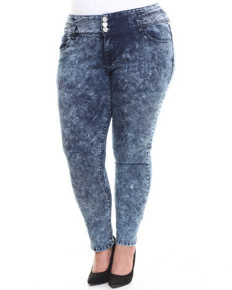 Fashion Lab - Women Light Blue Icy Blue High-Waist Skinny Ankle Jean (Plus)