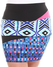 Plus Size - Mixed Print Pencil Skirt (Plus)