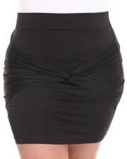 Bottoms - Tie Wrapped Front Skirt (Plus)