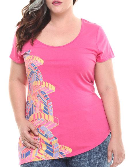 Baby Phat - Women Pink Mosaic Print Asymmetric Tee (Plus)