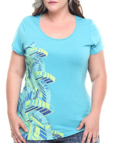 Baby Phat - Women Blue Mosaic Print Asymmetric Tee (Plus) - $7.99