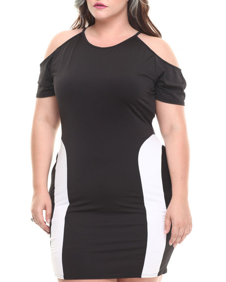 Baby Phat - Women Black,White Cold Shoulder Pieced Dress (Plus)