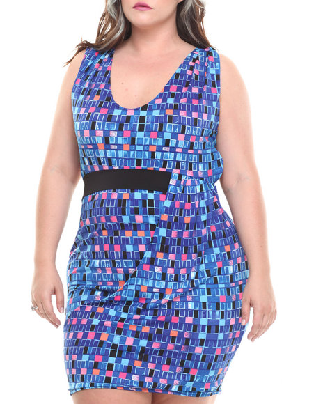 Baby Phat - Women Multi Draped Front Dress (Plus)