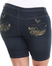 Plus Size - Script Bling Pocket Bermuda Jean Shorts (Plus)