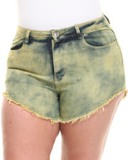 Plus Size - Candy Highwaist Acid Wash Denim Cutoff Short (Plus)