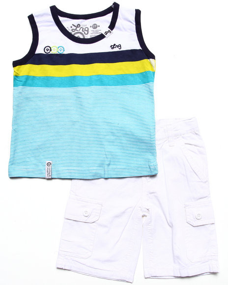 LRG - Boys White 2 Pc Set - Striped Tank & Cargo Shorts (2T-4T)