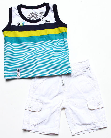 LRG - Boys White 2 Pc Set - Striped Tank & Cargo Shorts (Infant)