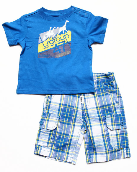 LRG - Boys Blue 2 Pc Set - Tee & Plaid Shorts (Infant)