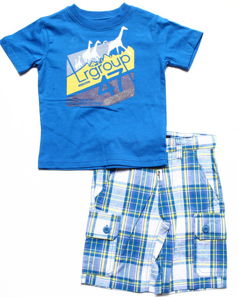 LRG - Boys Blue 2 Pc Set - Tee & Plaid Shorts (2T-4T)