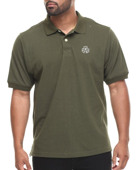 Akademiks - Men Olive Ralph  Solid Pique Polo Shirt - $18.99