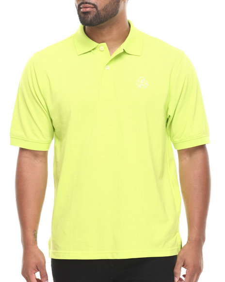 Akademiks - Men Lime Green Ralph  Solid Pique Polo Shirt