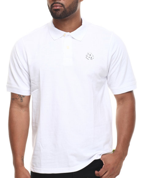 Akademiks White Ralph Solid Pique Polo Shirt