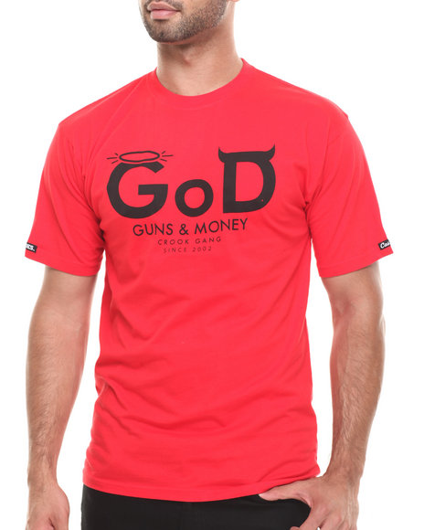 Crooks & Castles - Men Red G.O.D. T-Shirt - $27.99