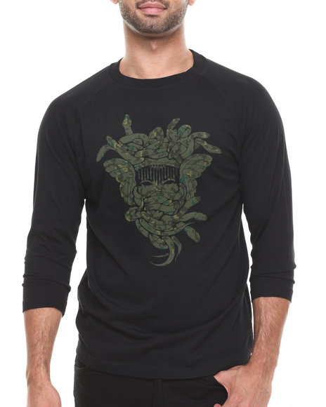 Crooks & Castles - Men Black Digi Camo Medusa Baseball Raglan
