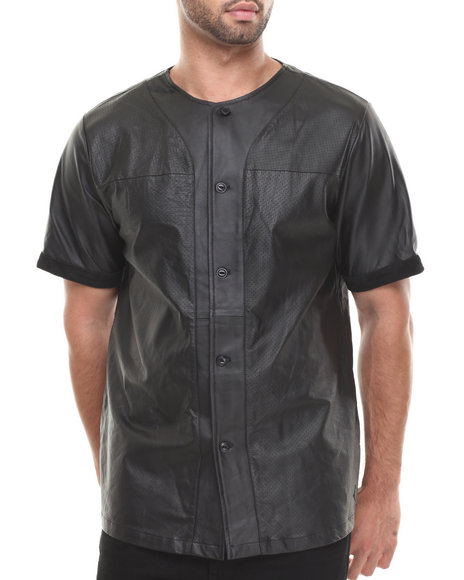 Crooks & Castles - Men Black Maniac Leather Baseball Jersey