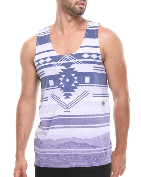 Buyers Picks - Men Purple Tribal Gradient Stripe Tank - $7.99