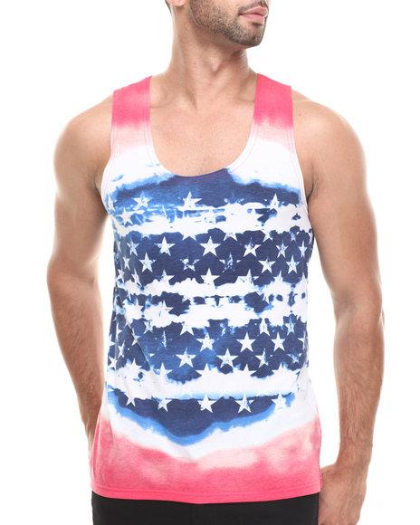 Buyers Picks - Men Blue,Red,White Americana Tie Dye Tank