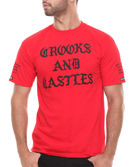 Crooks & Castles - Men Red Slum T-Shirt - $19.99