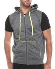 Buyers Picks - Solid Unlined Sleeveless Fleece Vest W/Hood