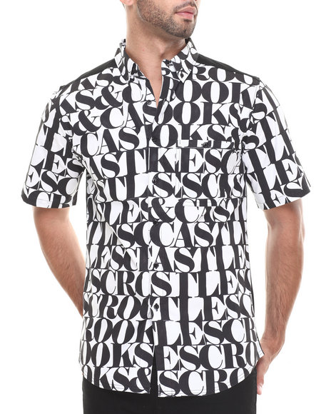 Crooks & Castles Black,White Headliner S/S Button-Down