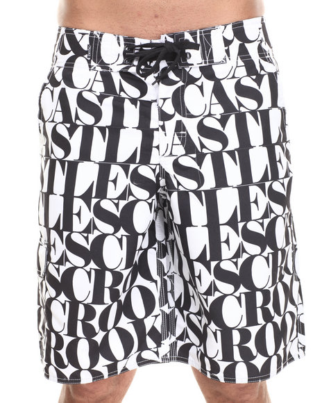 Crooks & Castles Black,White Headliner Boardshort