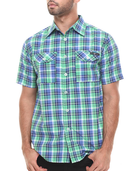 Enyce Blue,Green Geek S/S Button-Down