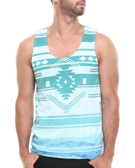 Buyers Picks - Men Blue Tribal Gradient Stripe Tank