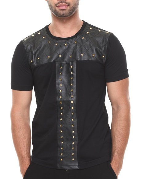 Akademiks - Men Black Virage 89 Quilted Faux Leather Stud Premium Tee - $57.99