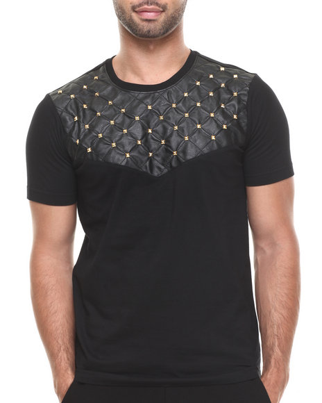 Akademiks - Men Black Zagato 61 Quilted Faux Leather Studed Premium Tee