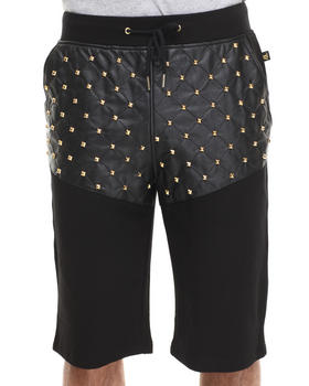 Akademiks - Vanquish 01 French Terry/Faux Leather Trim Sweat Shorts