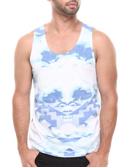 Buyers Picks - Men Light Blue Ethnic Cloud Tank