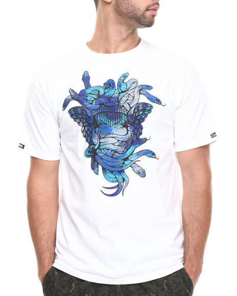 Crooks & Castles - Men White Cerulean Camo Medusa T-Shirt