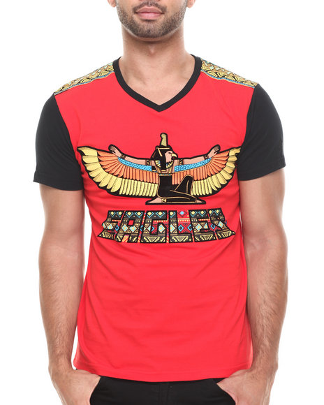 Stall & Dean Red Aztec Eagles Contrast Sleeve S/S Tee