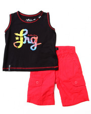 Sets - 2 PC SET - TIE DYE LOGO TANK & CARGO SHORTS (2T-4T)