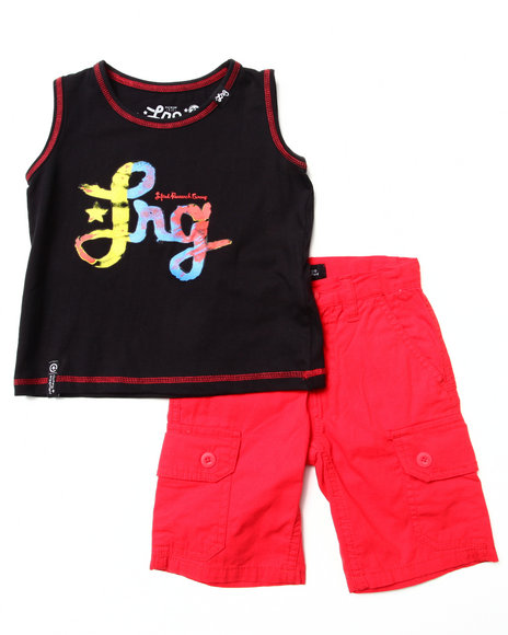 LRG - Boys Red 2 Pc Set - Tie Dye Logo Tank & Cargo Shorts (2T-4T)