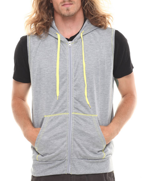 Buyers Picks - Men Grey Solid Unlined Sleeveless Fleece Vest W/Hood