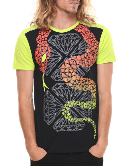 Stall & Dean Black,Lime Green Diamonds & Deciet Contrast Sleeve S/S Tee