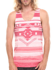 Men - Tribal Gradient Stripe Tank