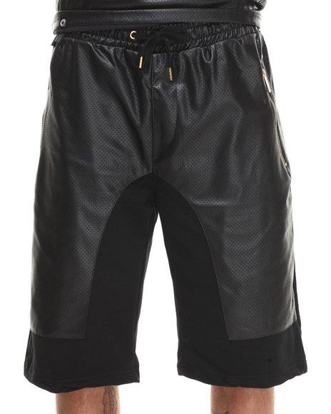 Akademiks - Men Black Viper Perforated Faux Leather Trim Shorts - $17.99