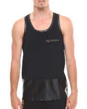 Akademiks - Royce Faux leather trim Tank top