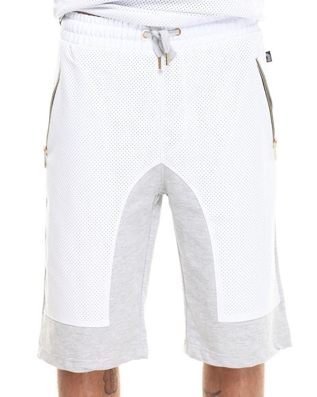 Akademiks White Viper Perforated Faux Leather Trim Shorts