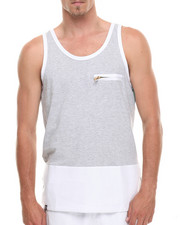 Men - Royce Faux leather trim Tank top