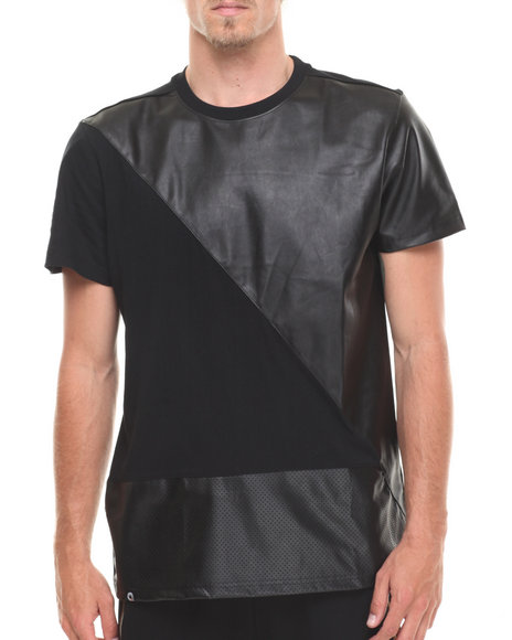 Akademiks Black Turbo Faux Leather Trim Tee
